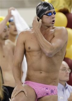 Only Ryan Lochte can wear a pink speedo with stars on it and still look hot--and break records--in the process:D