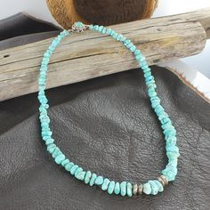 """CARICO LAKE TURQUOISE NECKLACE LIGHT BLUE 17"""" from New World Gems"""