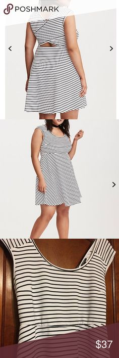 NWT torrid size 2 cross back skater dress NWT torrid size 2 cross back skater dress. The crisscross back is just the finale on this skater dress. Textured white and black stripes are quite an opening sequence to any and all evenings, while the stretchy fit and flared skirt keeps your middle from getting from getting boring torrid Dresses