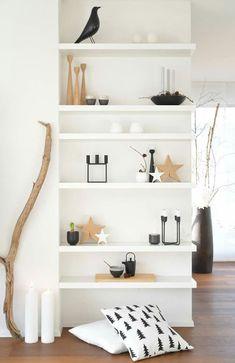 White modern shelving.