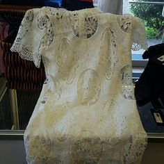 White Lace dress new never worn White lace dress with cap sleeve collar around neck Dresses Midi