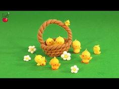 Easter Basket with Chicks Polymer Clay Tutorial