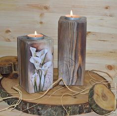 Ideas painting wood blocks home decor for 2019 Wood Block Crafts, Wood Blocks, Wood Crafts, Wood Projects, Diy And Crafts, Wood Home Decor, Rustic Decor, Decoupage, Wooden Candle Holders