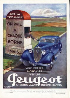 1934 PEUGEOT 601 sedan FRENCH Ad color TOLL BOOTH radiator ornament AUTOMOBILE