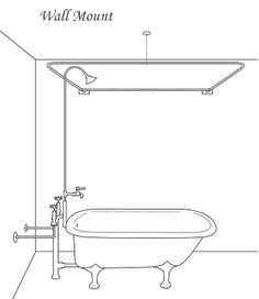 Wall Mount D Clawfoot Shower RodDIY Copper Shower Curtain Rod   Clawfoot tub shower  Shower  . Shower Curtain Ring For Clawfoot Tub. Home Design Ideas