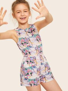 To find out about the Girls Half Button Front Landscape Print Tank Romper at SHEIN, part of our latest Girls Jumpsuits ready to shop online today! Preteen Girls Fashion, Teenage Girl Outfits, Girls Fashion Clothes, Dresses Kids Girl, Little Girl Outfits, Kids Outfits Girls, Cute Girl Outfits, Cute Summer Outfits, Baby Girl Fashion