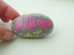 Hand painted beach stone as a Welcome sign for by NatureSpeaks2you