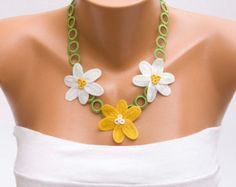 Yellow flower necklace crochet oya necklace by PashaBodrum on Etsy