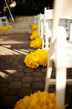 aisle decor - paper flowers, outdoor friendly for benches