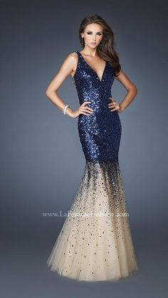 { 19097 | La Femme Fashion 2013 } La Femme Prom Dresses - Sequined Trumpet Gown - Illusion Back - Cascading Sequins - Can't get enough of this dress!
