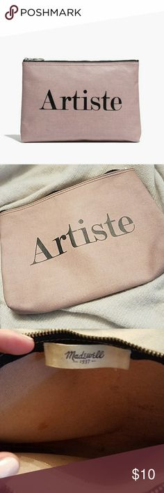 Madewell Artiste Makeup Pouch Gently used. Few small marks inside and hardly noticeable mark on outside of back of pouch. Used inside of my makeup kit but I prefer to see through my bags. Color is a very dusty blush pink. madewell Bags