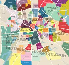 """Dallas """"neighborhood map"""" showing areas considered to be distinct and separate in the Dallas Communty. Dallas, like many large cities is a melting pot. Dallas Map, Dallas County, Casa Park, Dallas Neighborhoods, Living In Dallas, Urban Park, Preston, Travel Inspiration, Traveling By Yourself"""