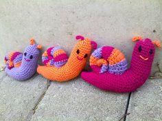 Amigurumi, crocheted snails