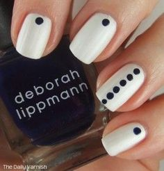 Minimalist nail art - Or you could go for black as the base polish with white dots over the top, you could also use any colour crystal in the space where the dots are too...x