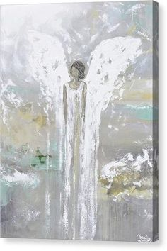 """Blessed with Grace and Joy"" Fine art, abstract, guardian angel painting depicting heavenly angel watching over & protecting. Canvas Print of this stunning, abstract, guardian angel painting. This hand-painted, contemporary, figurative piece possesses not only a comforting sense of peace and calm, but with its' soothing neutral shades & textured layers of paint, it also contains a vintage, stylish, organic feel, perfect for any decor. Created with a palette of white, grey, taupe, pale gold…"