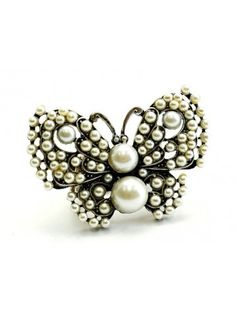 PEARL BUTTERFLY LADIES FASHION STRETCH RING - Pearl Rings - Rings - Jewellery