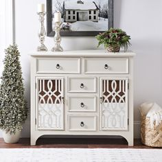 Sometimes a console table just doesn't cut it. If you need more storage in your entryway, try a cabinet! Use it to store everything from phone chargers to Christmas cards.