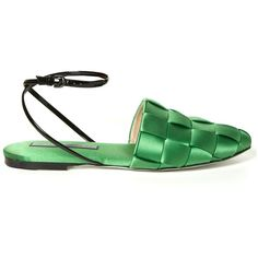 Marco De Vincenzo Woven-satin flat sandals (665 BGN) ❤ liked on Polyvore featuring shoes, sandals, braided ankle-wrap sandal, black shoes, flat sandals, flat shoes and black sandals