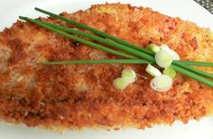 Panko crusted baked Mahi Mahi is what's for dinner tonight! I added crushed pecans to the breadcrumbs and it was delicious.
