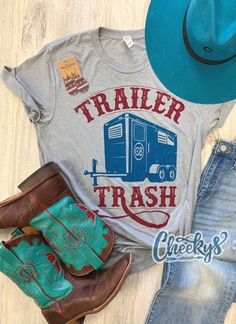 'Cheekys Original' ~ Trailer Trash Unisex Tee on Steel Gray! All images & designs are copyrighted & we have worked very hard to make them. Please feel free to use our images for social media & sharing, but please give credit when doing so. Thank you for shopping Cheekys!!! Boutique Shirts, Boutique Clothing, Vinyl Shirts, Mom Shirts, Western Shirts, Western Wear, Pretty Outfits, Cool Outfits, Pretty Clothes