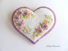 Beaded Felt  Heart - flowers 2