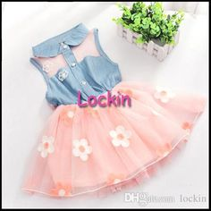 Girls Cowboy Dresses 2015 Summer Girl Lace Flowers Tulle Sleeveless Vest Pleated Ruffle Princess Dress Kids Clothes White Pink from Lockin,$4.04 | DHgate.com