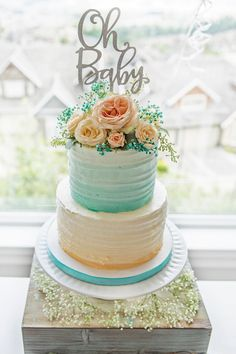 Two-tiered ombre cake from a Pastel Gender Neutral Baby Shower on Kara's Party Ideas | KarasPartyIdeas.com (8)