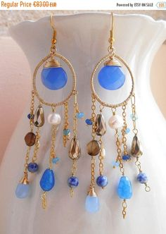 ON SALE Nereids earrings blue gemstone chandelier earring long