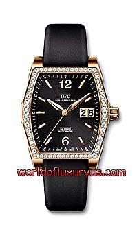 IWC - DA VINCI AUTOMATIC DIAMOND LADIES WATCH - IW4523-22 (ROSE GOLD / BLACK DIAL / BLACK SATIN STRAP)