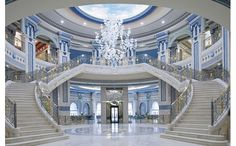 A lush, palatial retreat in the heart of Riyadh, Saudi Arabia, The Ritz-Carlton, Riyadh is regarded as one of the city's most majestic luxury hotels. Luxury Homes Dream Houses, Luxury Homes Interior, Home Interior Design, Modern Mansion Interior, Design Homes, Interior Photo, Luxury Staircase, Grand Staircase, Staircase Architecture