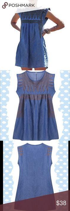 "Denim mini dress Super chic. NWOT. Size M-bust(38"") length: 35.5"". Size L- bust (40""), length: 35.8"" Dresses Mini"