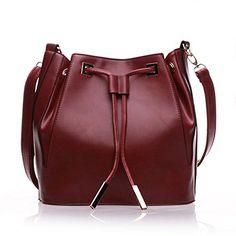 Mygoodie New Fashion Tassel Drawstring Bucket Bag Pu Leather Tote Handbag Shoulder Bag for Women -- Click image for more details.