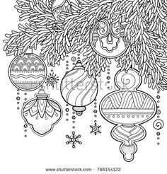 Magic Christmas New Year Background In Doodle Style Floral Ornate Tribal
