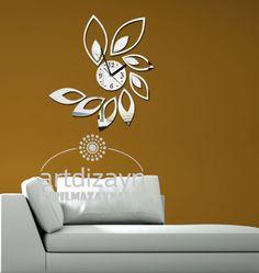 decorative mirror wall clock, leaf design Shatterproof large wall clock,  modern wall clock, birthday gift