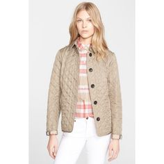 Beige Quilted Puffer Jacket Excellent condition. Gold hardware. Plaid lining. See picture 2 & 3 for actual item. Very similar to Burberry Brit Jacket which is retail for $595+ tax Jackets & Coats Puffers