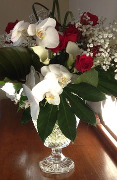 Gorgeous White Orchids with Red Roses and White Callas #racheljeansevents