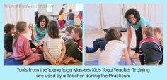 Tools from the kids yoga teacher training are used by a student during the practicum to get the children's attention and then to do lunge pose