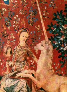"""The Lady and the Unicorn is the modern title given to a series of six tapestries woven in Flanders of wool and silk, from designs (""""cartoons"""") drawn in Paris around 1500. They were used in HP film series - you can see them in the Gryffindor's common room."""