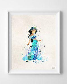 Aladdin Print Jasmine Watercolor Art Disney Poster by InkistPrints