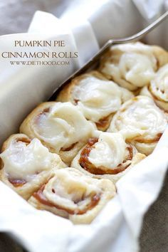 Pumpkin Pie Cinnamon Rolls in under one hour made with refrigerated dough, a delicious pumpkin filling, and an incredible pumpkin pie spice cream cheese frosting! | #recipe #cinnamonrolls #pumpkin