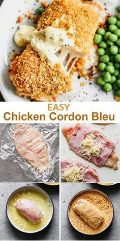 This Homemade Dish Is Crispy And Delicious, Filled With Cheese And Ham. It Is An easy Version Of The Famous French Meal That Is Ready In About One Hour. . Best Chicken Cordon Bleu Recipe, Easy Chicken Cordon Bleu, Chicken Thigh Recipes Oven, Baked Chicken Recipes, Oven Chicken, Easy Dinner Recipes, Easy Meals, Dinner Ideas, Dinner For Two