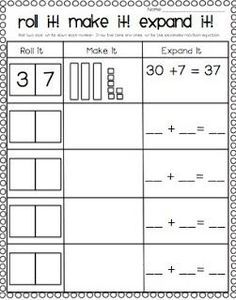 Classroom Freebies Too: Place Value Freebie! Also has missing addend
