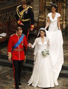 Britain's Prince William, foreground left, and his wife Kate, the Duchess of Cambridge, foreground right, best man Britain's Prince Harry, back left, and maid of honour Philippa Middleton, back right, accompany them following their wedding service at Westminster Abbey in London, Friday, April 29, 2011. (AP Photo/Kirsty Wigglesworth, Pool)