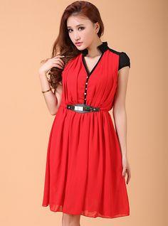 V-neck Puff Sleeve Chiffon Dress