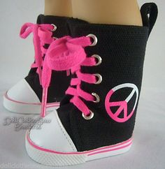 "Black Canvas Sneakers Boots Peace Sign Made for 18"" American Girl Doll Clothes 
