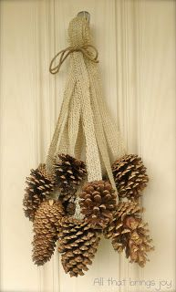 PINE CONE, Burlap and Twine Decor