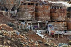 The ruins of the Tintic Standard Reduction Mill in Goshen, Utah