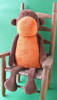 Milton Monkey softie pattern plushie stuffed by ShinyHappyWorld
