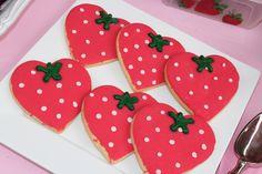 Strawberry Shortcake Party Ideas #cookies #strawberrycookies