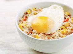 The champion combo of corned beef, rice, corn, and  fried eggs makes this a clear winner!